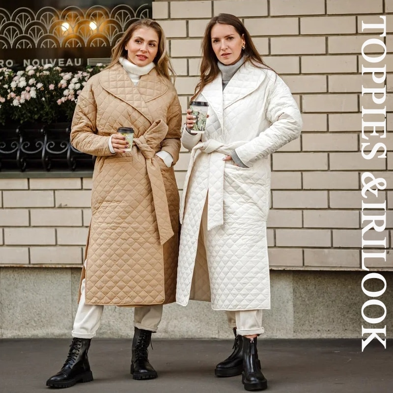 Toppies 2020 autumn winter coat womens argyle long jacket thin parkas double breasted belt coat plaid
