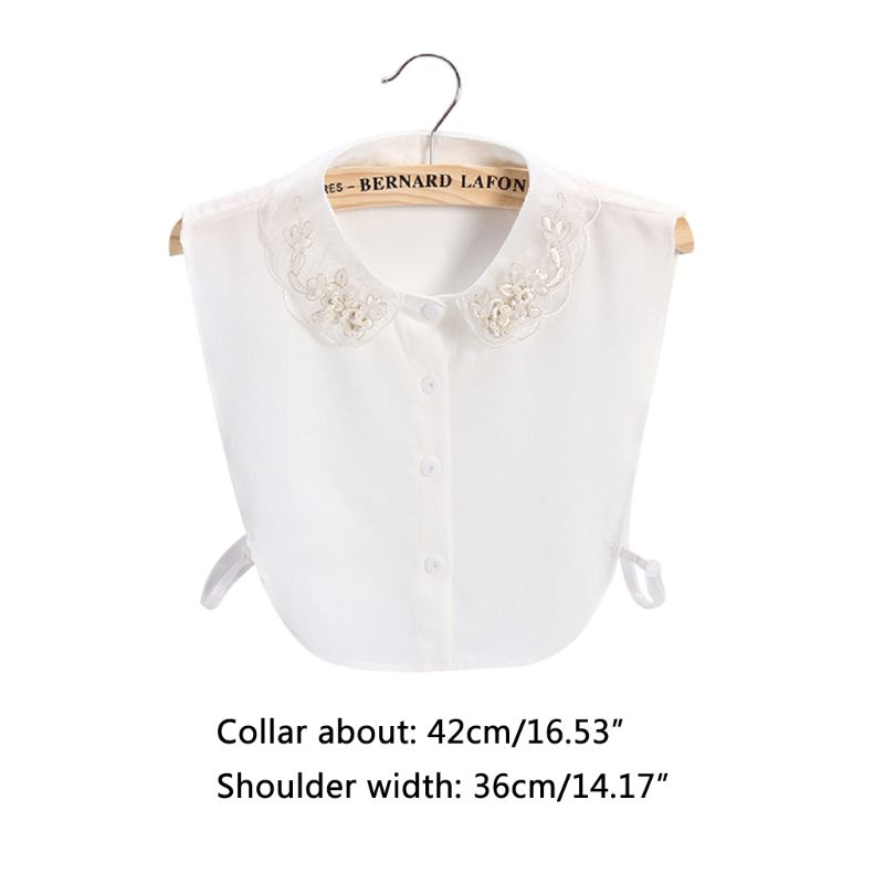 Women Sweet Chiffon Fake Collar Golden Embroidery Floral Faux Pearl Half-Shirt 449F