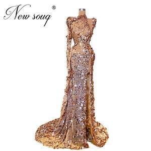 Image 1 - Robe dubai lantejoulas vestidos de baile 2020 turco única manga frisada vestidos de noite saudita árabe formal festa noite vestido personalizado