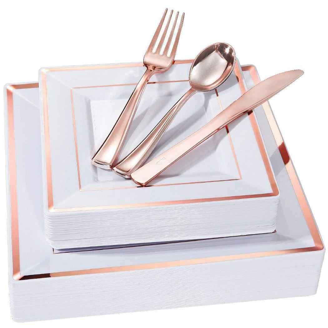 ทนทานสแควร์รูปร่างพลาสติกจานคู่พิมพ์พรรค 3 สี 6pcs 3pcs แผ่นบนโต๊ะอาหารงานแต่งงานอุปกรณ์