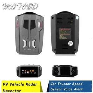 V9 Vehicle Radar Detector (English/Russian/Thai ) 360 Degree Car Trucker Speed Sensor Voice Alert Warning 16 Band LED Display