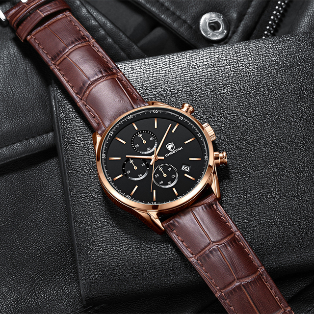 2021 New Men Watch CHEETAH Waterproof Quartz Men Watches Chronograph Sport Wristwatch Leather Business Male Clock Watch With Box 4
