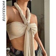 BOOFEENAA modna krótka koszulka bez pleców, z wiązaniem na szyi kobiety seksowna sukienka do klubu krzyż Bralette podkoszulki C99-CZ25