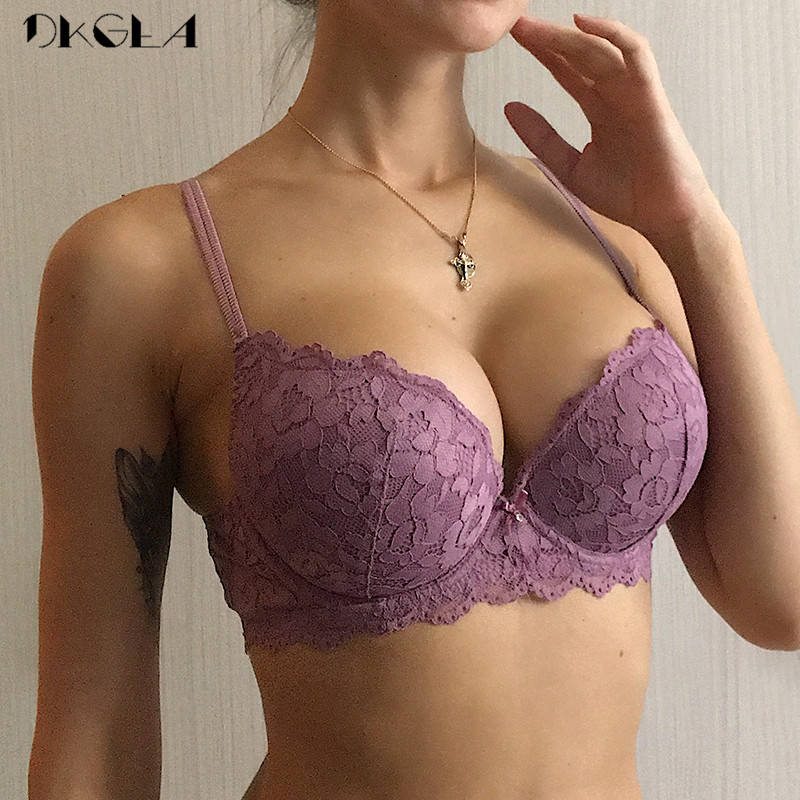 Brand Hot Sexy Push Up Bra Deep V Brassiere Thick Cotton Women Underwear Lace Purple Embroidery Flowers Lingerie A B C Cup Bras