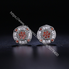 CZ Wedding Earrings round red purple CZ Floral Bridal Earrings  White gold color plated stud Wedding Earrings for women
