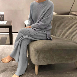 Fashion Women Soft Homewear 2 Piece Set Elegant O Neck Pullover Tops And Knitted Pants Solid Autumn Winter Lady Pajama