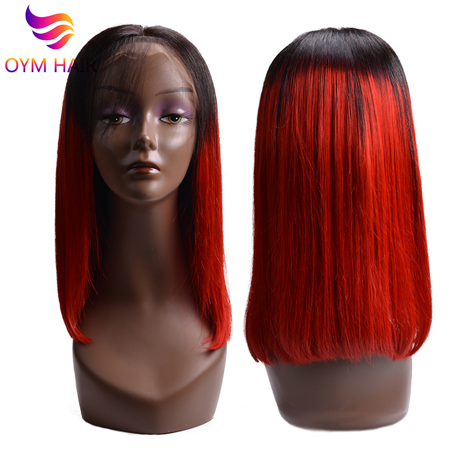 OYM HAIR 13x4 Lace Front Human Hair Wigs For Black Women Brazilian Non-Remy Hair 150% Short Human Hair Bob Wigs With Baby Hair