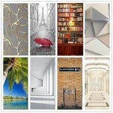 Библиотечная полка, Лондонская платформа, клей, 3D наклейка на дверь, s DIY, водостойкие обои для раздвижных стеклянных дверей, домашний декор, наклейка