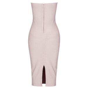 Image 3 - Ocstrade夏vestidos包帯 2020 新しい女性ミディ包帯ドレスレーヨンヌードタッセルフリンジセクシーなストラップレスボディコンパーティードレス