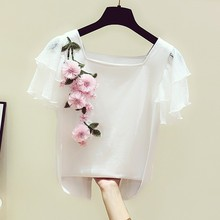 New Womens Ladies Floral Embroidered Short Sleeve White T-