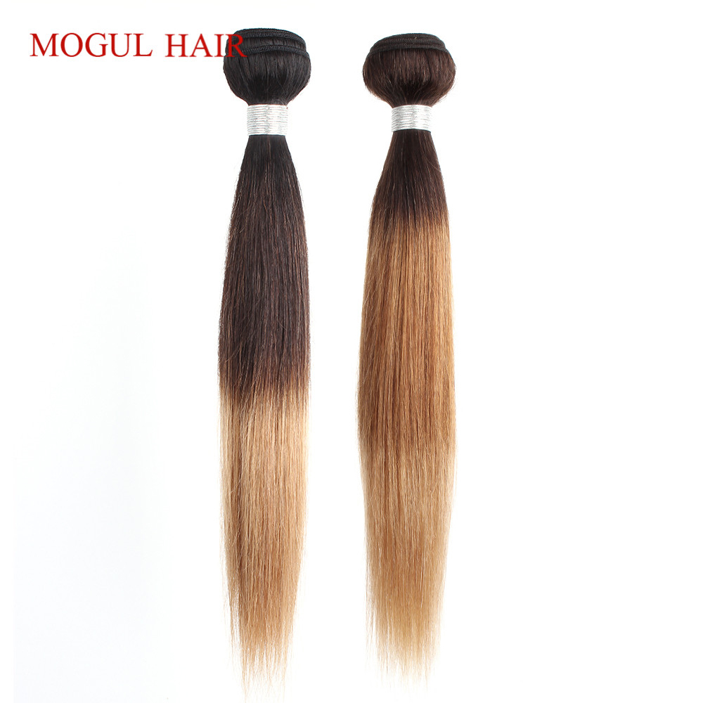 MOGUL HAIR 1 Bundle Ombre Three Tone 1B 4 27 Blonde 4 30 27 Peruvian Straight Hair Weave Bundles Non Remy Human Hair Extension