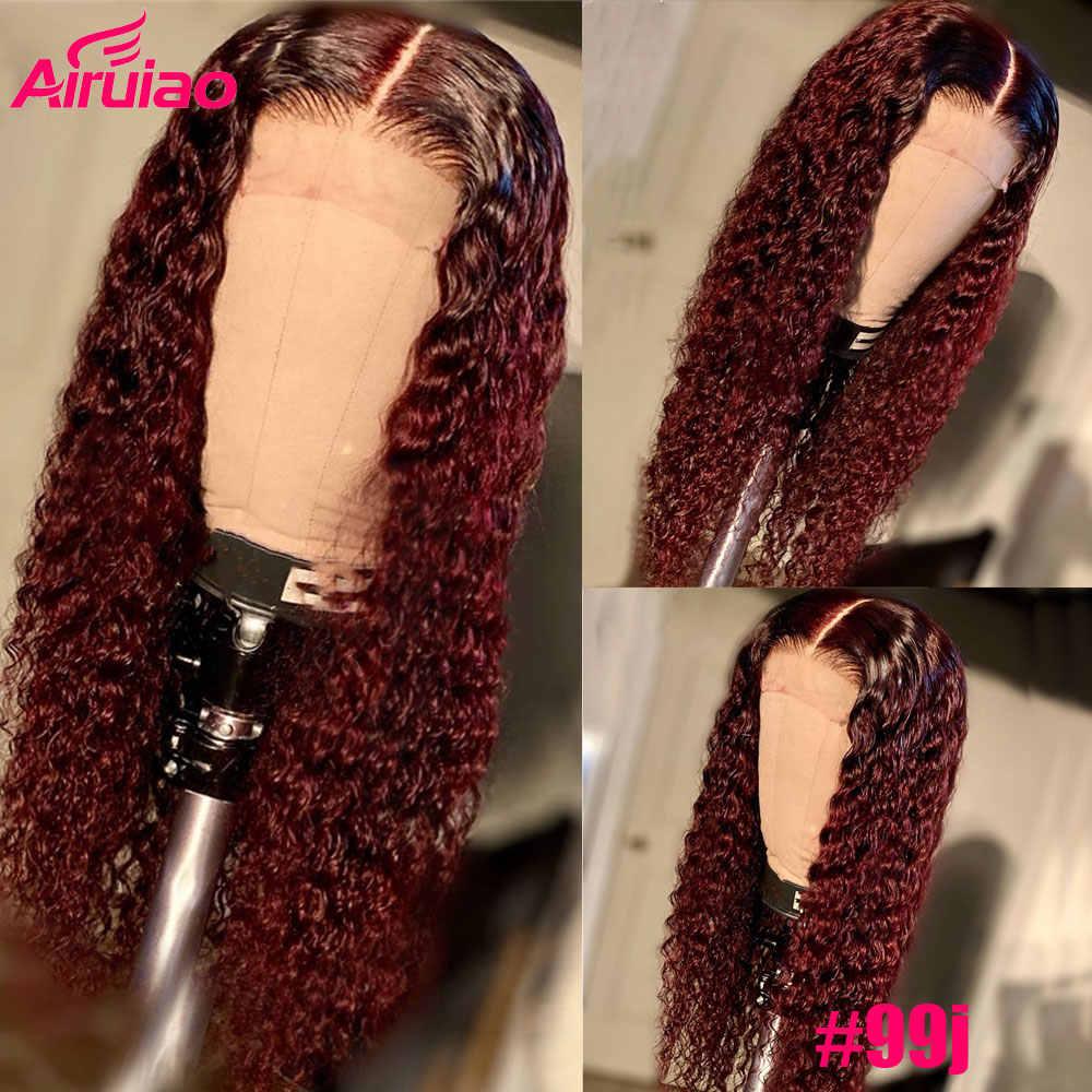 Farbige 13x6 Tiefe Teil Burgund Spitze Front Menschliches Haar Perücken Ombre Braun Ingwer Brasilianische Wasser Welle Perücke Remy glueless Rot 99j Perücke