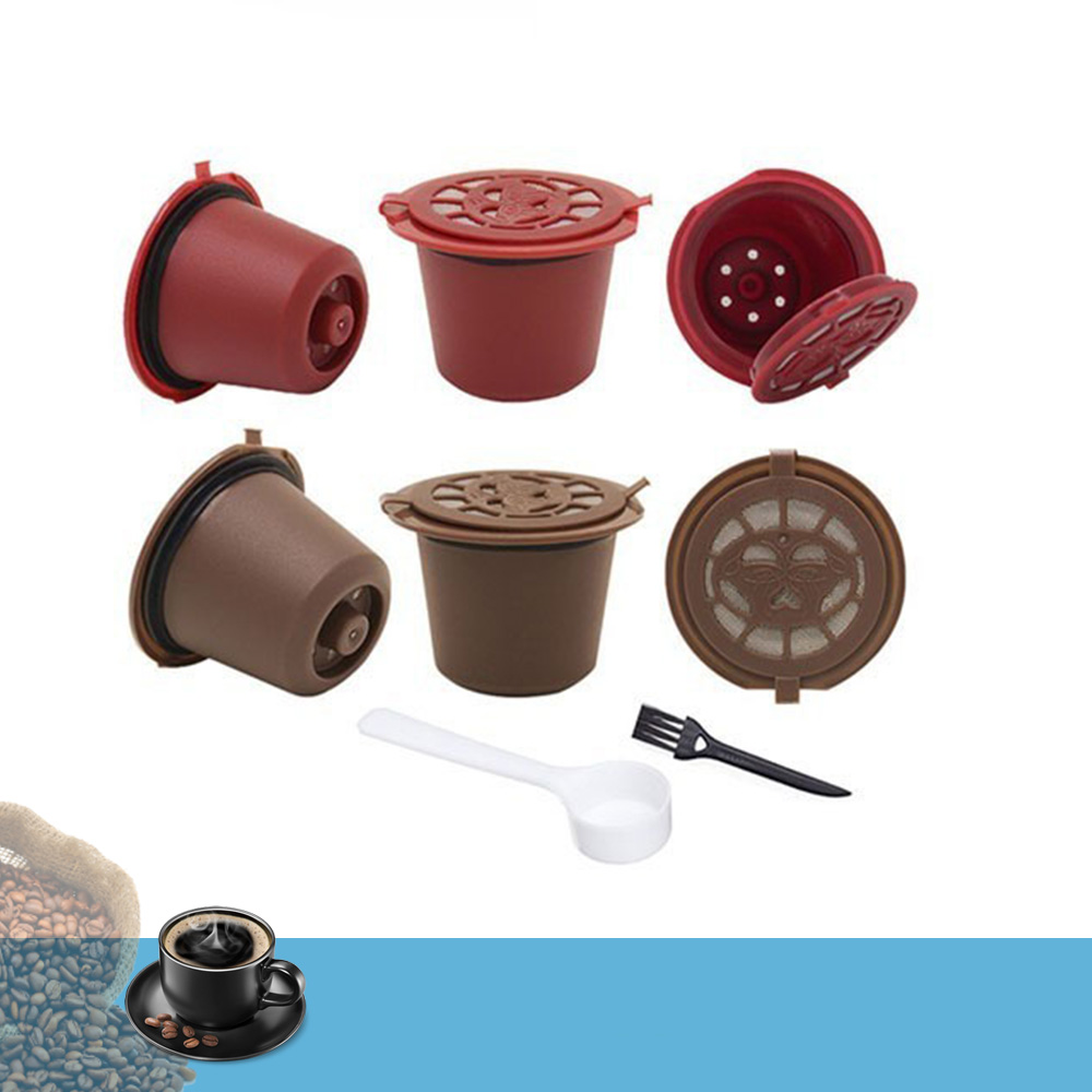 4 Uds filtro de café 20ml cápsula reutilizable de café recargable filtros para Nespresso con cuchara cepillo accesorios de cocina