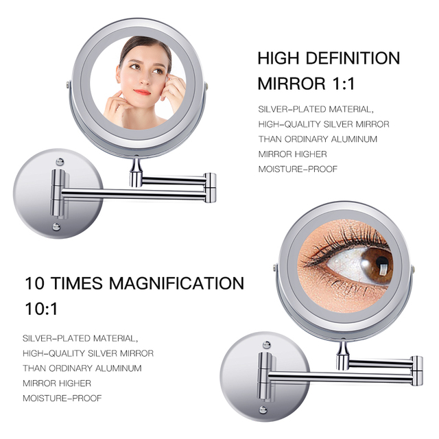 Led Makeup Mirror With Light Folding Wall Vanity Mirror 1x 10x Magnifying Double Sided Touch Bright Adjustable Bathroom Mirrors 2