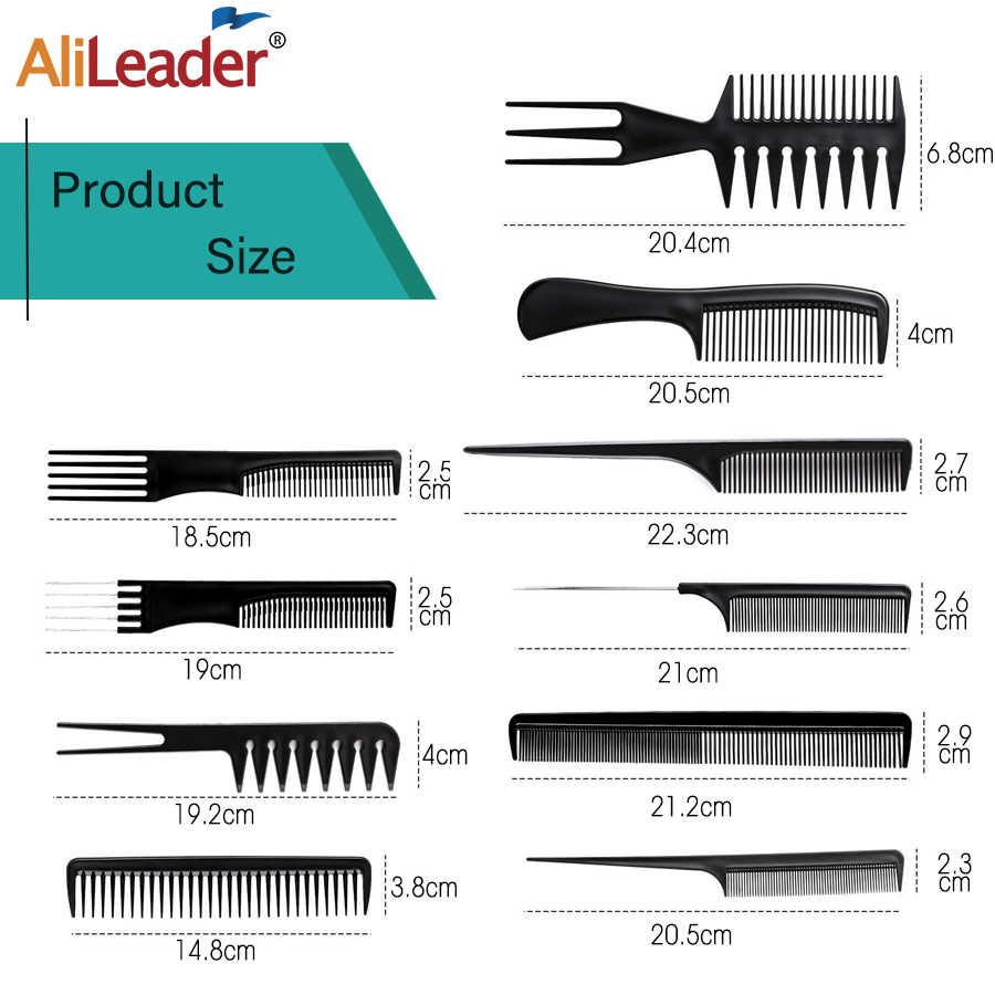 Alileader mais barato 10 pces pente de cabelo profissional salão de beleza cabeleireiro anti-estático barbeiros pente cauda com saco de armazenamento livre