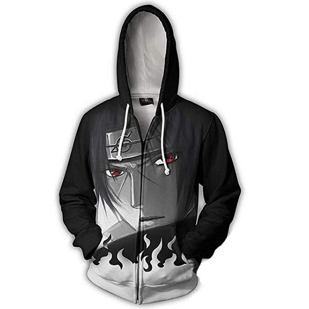 Naruto Akatsuki Itachi Kakashi Cosplay Costume Zipper Hooded 3D Printed Jacket Hoodie Fashion Coat Sportswear Casual Sweatshirts