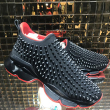 (With Box)Low heel shoe and Slip On Black Rivet Front Red bottoms For Man Sports Shoes Sneakers Weave Cow leather casual Loafers Flat Walking