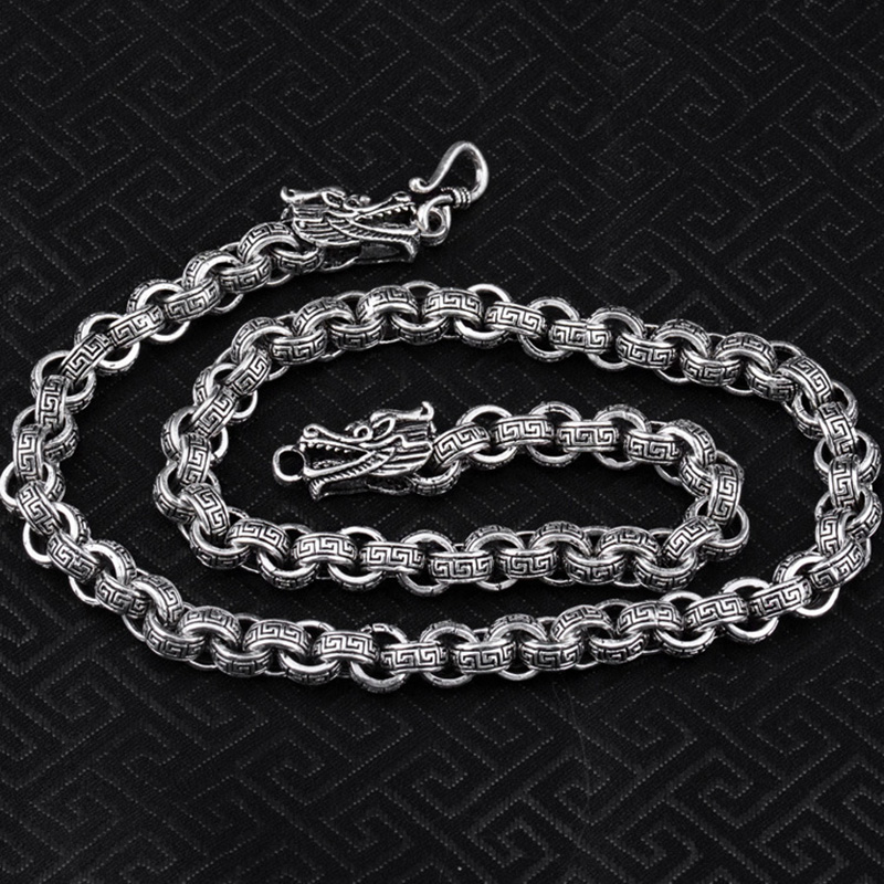 925 Sterling Silver color Double Dragon Head Men Necklace Vintage Punk Thai Silver Round Link Chain Male Necklace Fine Jewelry