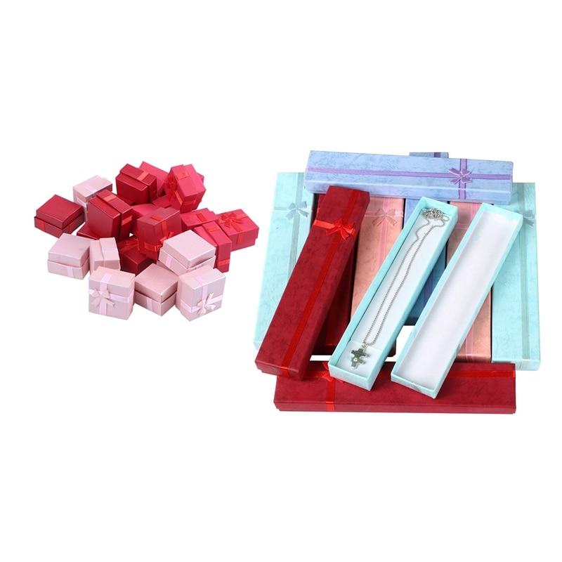 34 Pcs Elegant Luxury Gift Boxes Long Rectangular For Jewelry Presentation Necklaces 10pcs 22x4x2Cm & 20pcs 4x4cm
