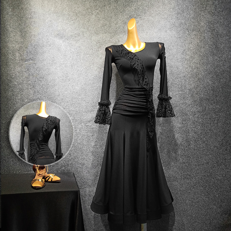 New Standard Ballroom Dress Ladies Black Ballroom Waltz Dresses Women Flamenco Spanish Bullfight Performance Clothing DN5531