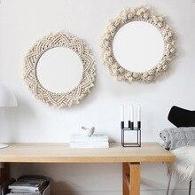 Macrame 태피스트리 벽 매달려 장식 거울 보헤미아 크리 에이 티브 홈 아트 벽 장식 boho 장식 홈