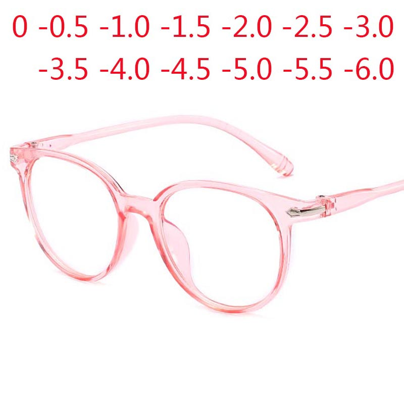 Women Glasses Men Anti Blue Light Eyeglasses Round Clear Lens Glasses Optical Spectacle 0 -0.5 -1.0 -1.5 -2.0 -2.5 -3.0 To -6.0