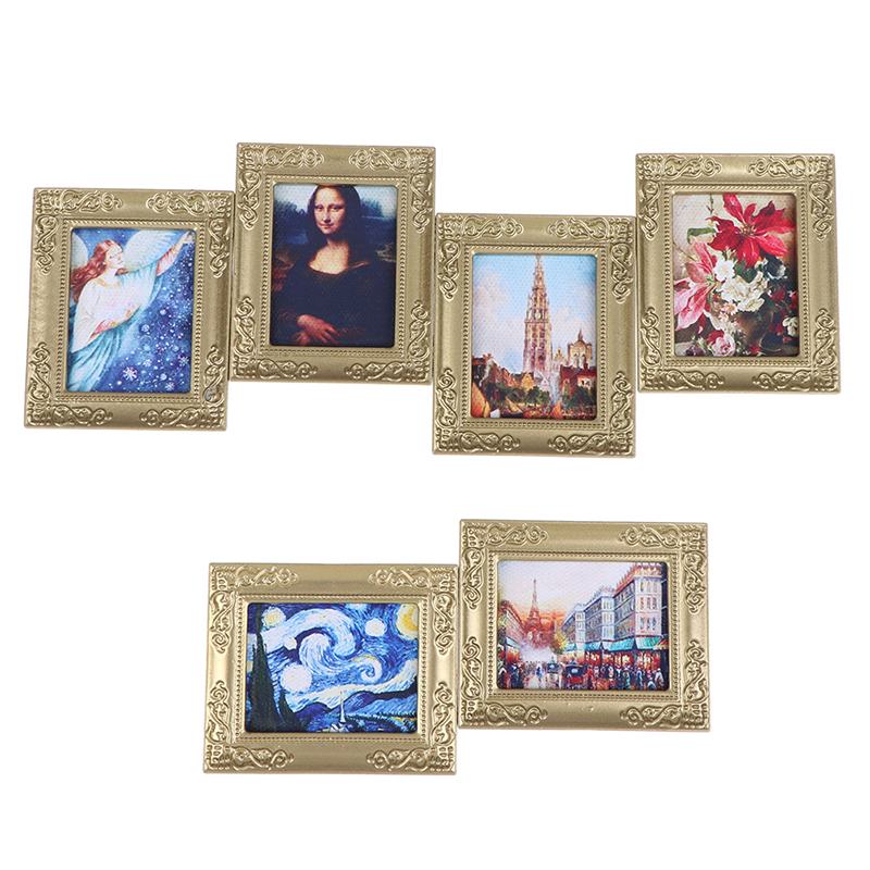 6cmx5cm Dollhouse Miniature 1:12 Mini Decorative Accessories Antique Manny Frame Oil Painting Mona Lisa DIY Wooden Doll House