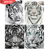 HUACAN Tiger Painting By Numbers Drawing On Canvas HandPainted Art Gift DIY Animal Picture By Number Kits Home Decoration