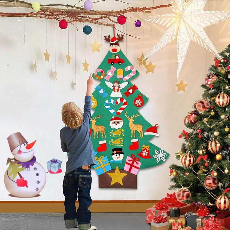 Top Diy Felt Christmas Tree With Glitter Ornaments Freely Paste Wall Hanging Christmas Trees Kids Toddler Felt New Year Gift Aliexpress