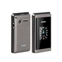 Uniwa X28 X 28 Flip נייד טלפון Dual סים זקן נייד גדול סוללה בלחיצת כפתור רוסית מקלדת MP3 flip נייד טלפון SOS