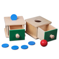 Infant Toddler Montessori Materials Kids Toy Baby Wooden Coin Box Ball Matching Box Learning Educational Preschool Training