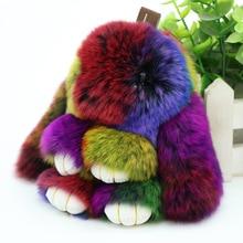 Cute Pluff Bunny Keychain Rex Genuine Rabbit Fur Key Chains For Women Bag Toys Doll Fluffy Pom Pom Lovely Pompom Keyring