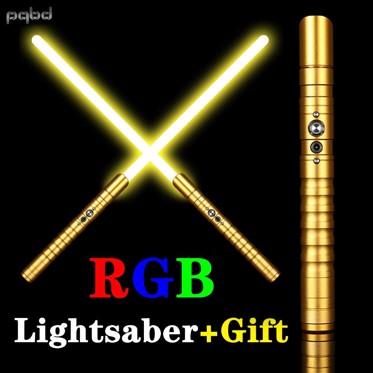 pqbd LED Saber Metal RGB Lightsaber with 3 Kinds of Sounds Heavy DuelingCosplay Ultra Sword Flashlight Kids Toys