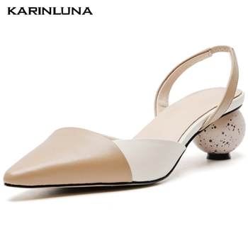 Karinluna On Sale Newest Genuine Leather Round Heels Pointed Toe Summer Luxury Brand Skin Slingback Sandals Woman Shoes Women