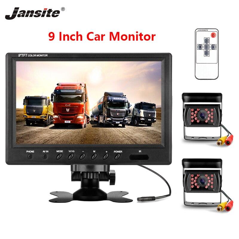 Jansite 9 дюймов автомобильный монитор HD дисплей 2 видео вход IP67 водонепроницаемая резервная камера изображение флип 12 24 В автокран помощь при п