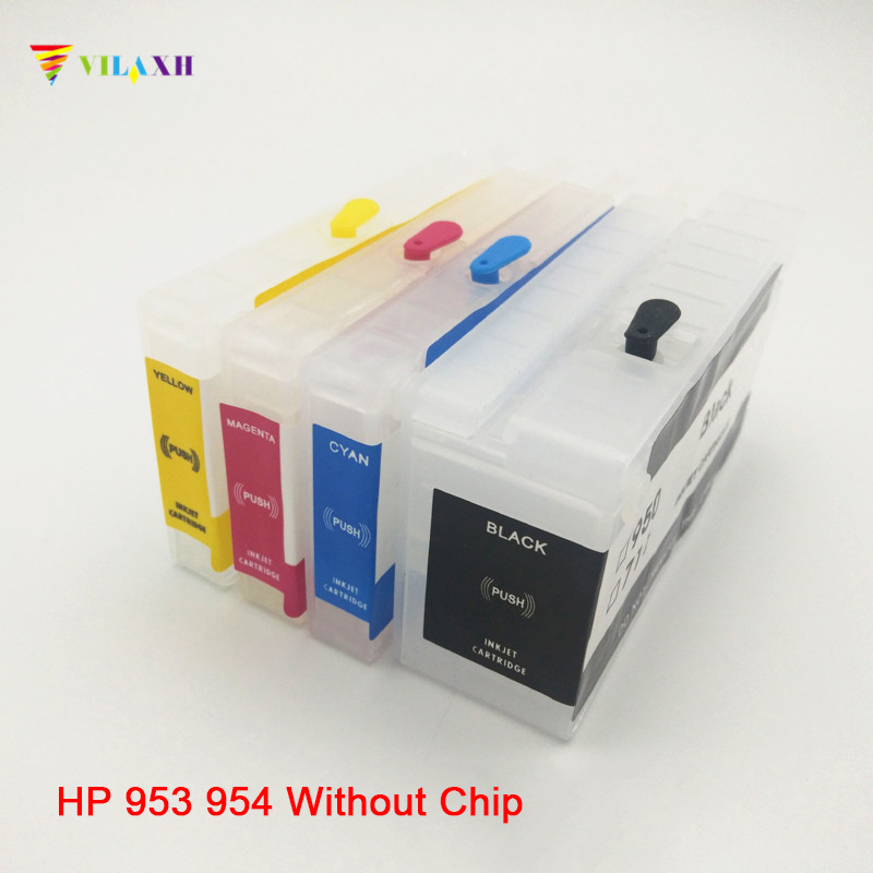 Vilaxh <font><b>953</b></font> 953XL Empty Refillable Cartridge Without Chip for <font><b>hp</b></font> 952 <font><b>953</b></font> 954 955 XL Officejet Pro 8715 8720 8725 8730 8735 8740 image