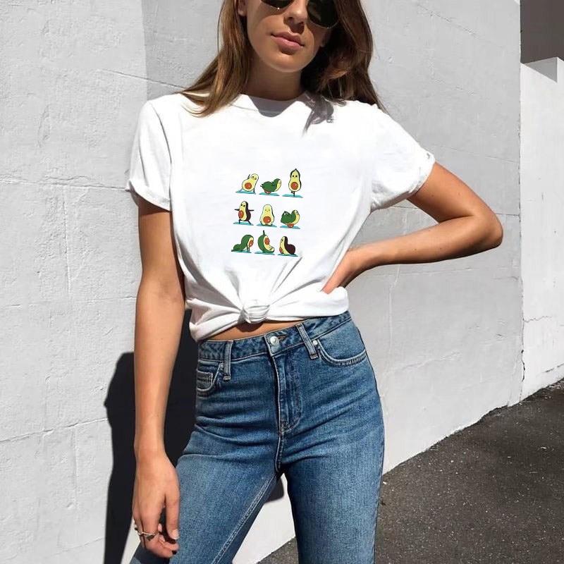 Showtly  Graphic T Shirts Women AVOCADO  Harajuku Kawaii Ulzzang Streetwear Korean Clothes Oversized T Shirt Camisetas Verano