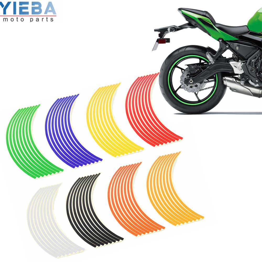 Sepeda Motor Stiker Mobil Roda Ban Stiker Reflektif Rim Band Aksesoris Eksterior untuk Kawasaki Ninja 300 EX300 Z300 Z250 Z1000