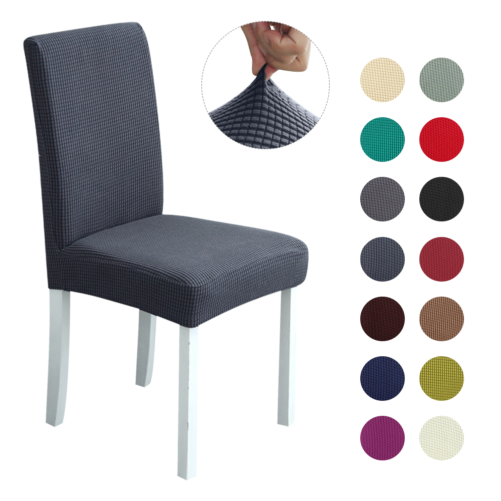 Polar Fleece Thickened Plaid Elastic Dining Chair Seat Cover Dust-proof Stool Cover Protector Chair Covers Spandex For Banquet