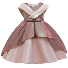 Flower Girls Dresses Vintage Lovely Sleeveless O-Neck Bow Knee-Length Luxury Soybean Pink Elegant Kids Party Princess Gown F463