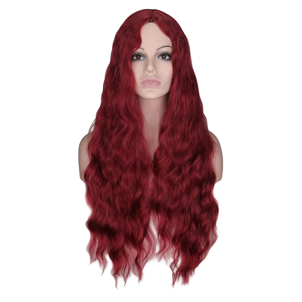 QQXCAIW Long Water Wave Wig For Women Black Pure Red Hair Middle Part 26 Inch Heat Resistant Synthetic Hair Wigs Cosplay Party