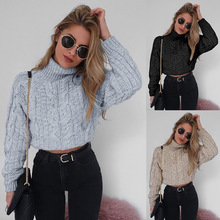 Womens Sweater Knitted Ribbed Pullover Slim Jumper Sweaters Female Short Long Sleeve High Collar Sexy Umbilical Twist