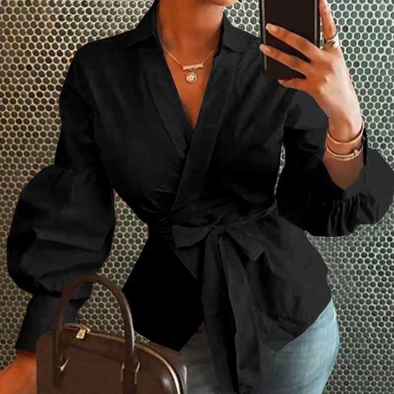 Fanbety נשים של מכתבי החולצה פנס ארוך שרוול חולצות משרד ליידי סתיו החורף סקסי v צוואר כפתור חולצות חגורה blusa