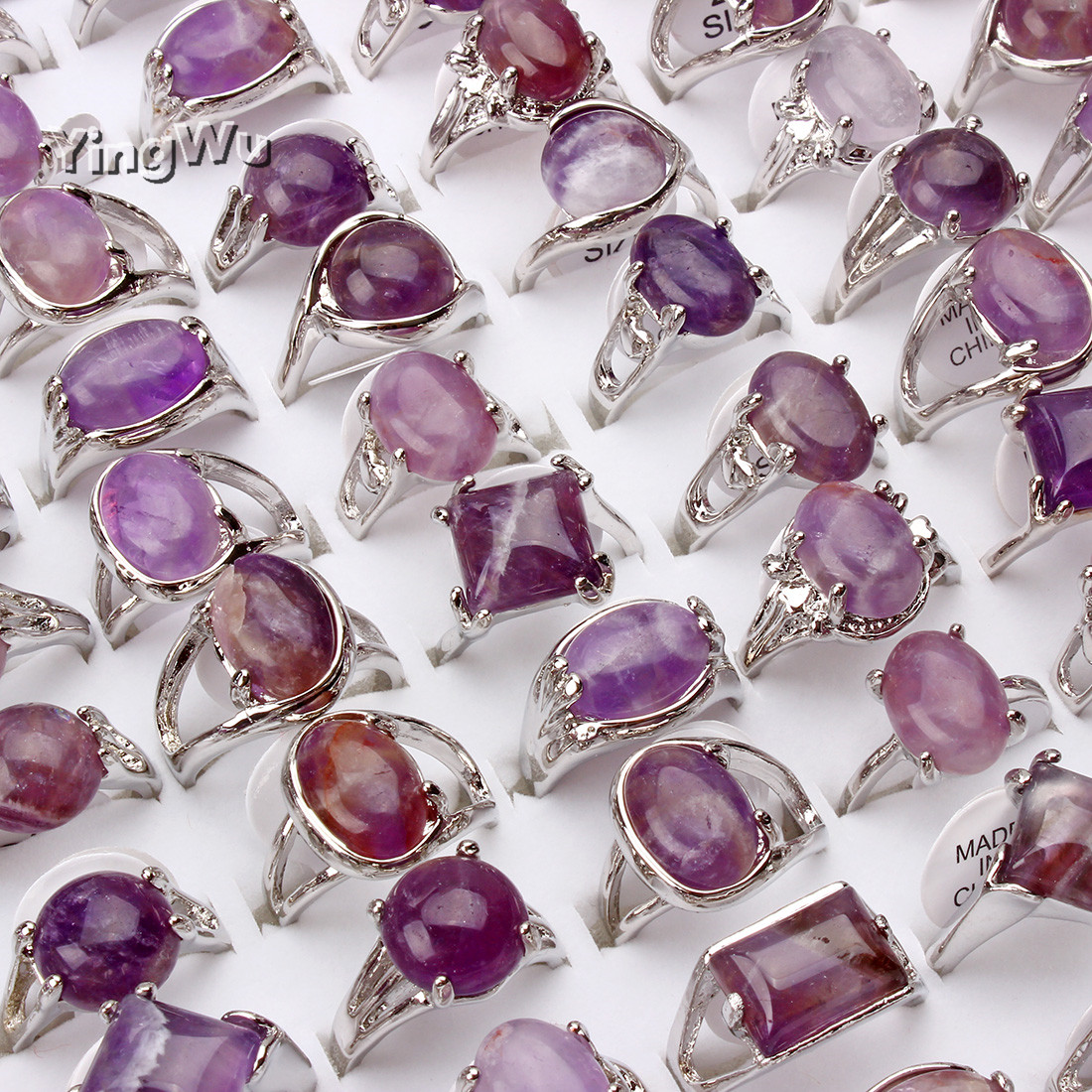 Yingwu 30pcs Lot Wholesale Natural Amethyst Stone Crystal Finger Rings For Women Fashion Jewelry Accessory Party Gifts