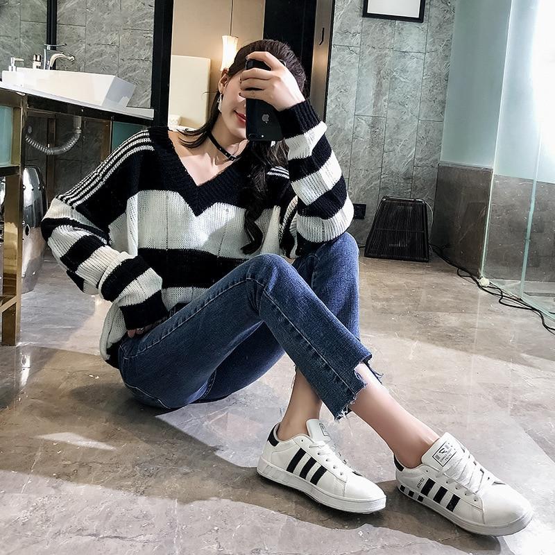 2019 New Style Korean-style High-waist Ankle-length Micro Bell-bottom Pants Versitile Fashion Elegant Slimming Jeans Women's