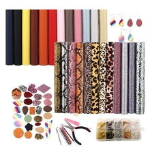 24 Pieces Earring Making Kit Double-Sided Faux Leather Sheet and Tools Jewellery