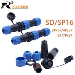 1 conjunto à prova dwaterproof água conector sp16 ip68 cabo conector plug & soquete macho e fêmea 2 3 4 5 6 7 9 pinos