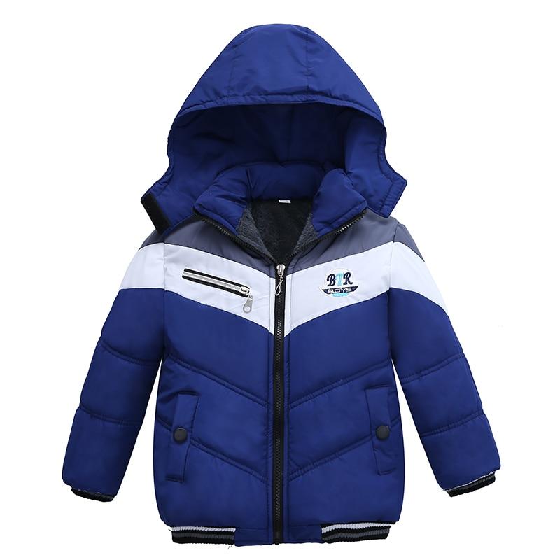 Christmas Patchwork Boys Jacket Outwear Warm Hooded Winter Jackets for Boy Girls Coat Children Parka Clothing Coat Windproof 1