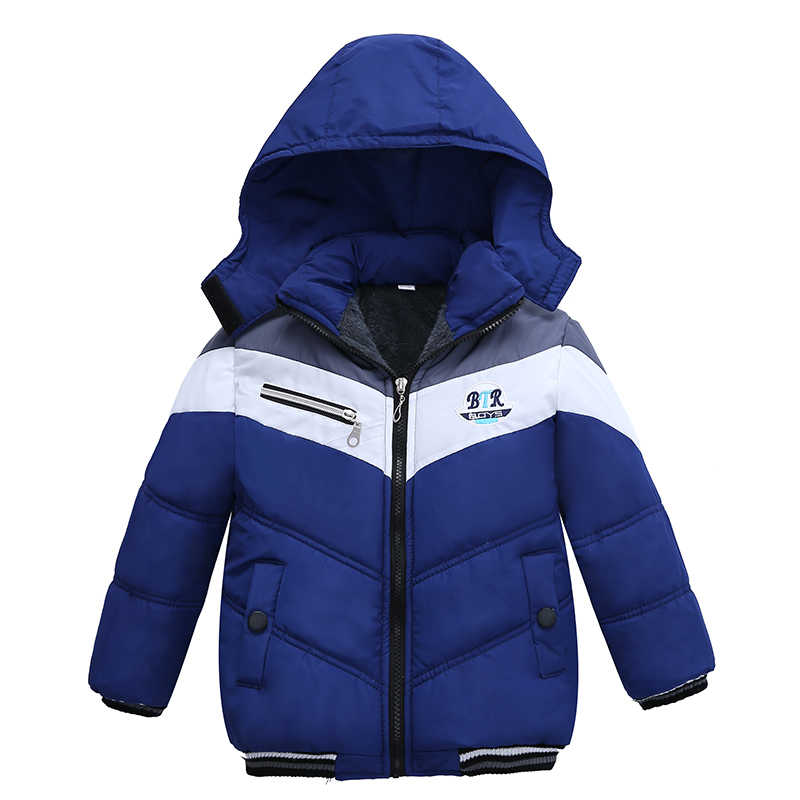 Christmas Patchwork Boys Jacket Outwear Warm Hooded Winter Jackets for Boy Girls Coat Children Parka Clothing Coat Windproof