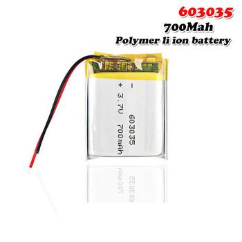 700mAh 3 7V 603035 litowo-polimerowy akumulator litowo-jonowy do mp4 mp5 tachograf wideorejestrator samochodowy Bluetooth słuchawki GPS tanie i dobre opinie EASTFIRE 700 mAh CN (pochodzenie) Tylko baterie 35x30x6mm 1 38x1 18x0 24 3 7~4 2V Lithium Polymer Battery lipo battery 3 7V